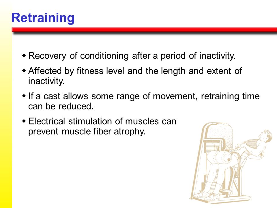 Retraining Recovery of conditioning after a period of inactivity. Affected by fitness level and the length and extent of inactivity. If a cast allows