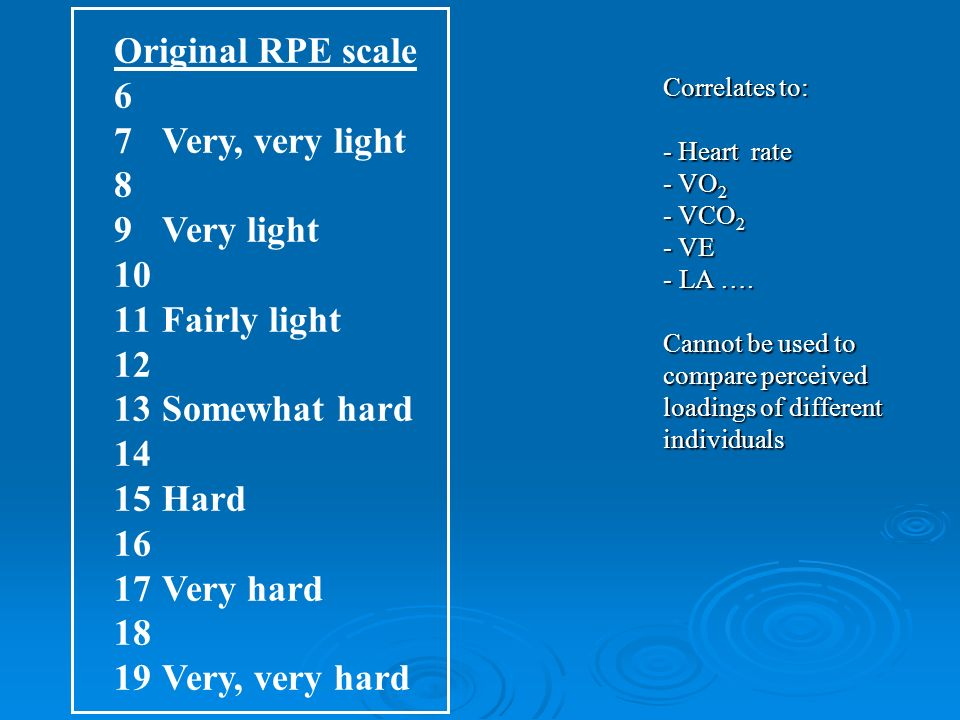 Original RPE scale 6 7Very, very light 8 9Very light 10 11Fairly light 12 13Somewhat hard 14 15Hard 16 17Very hard 18 19Very, very hard Correlates to: - Heart rate - VO 2 - VCO 2 - VE - LA ….