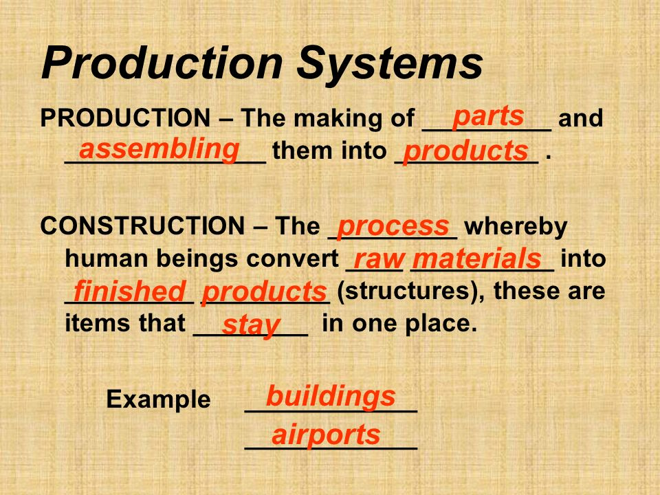 Production Systems PRODUCTION – The making of _________ and ______________ them into __________.