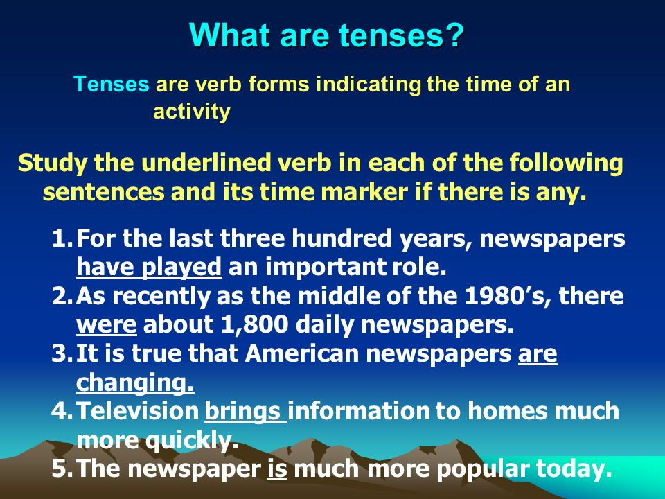 What are tenses.