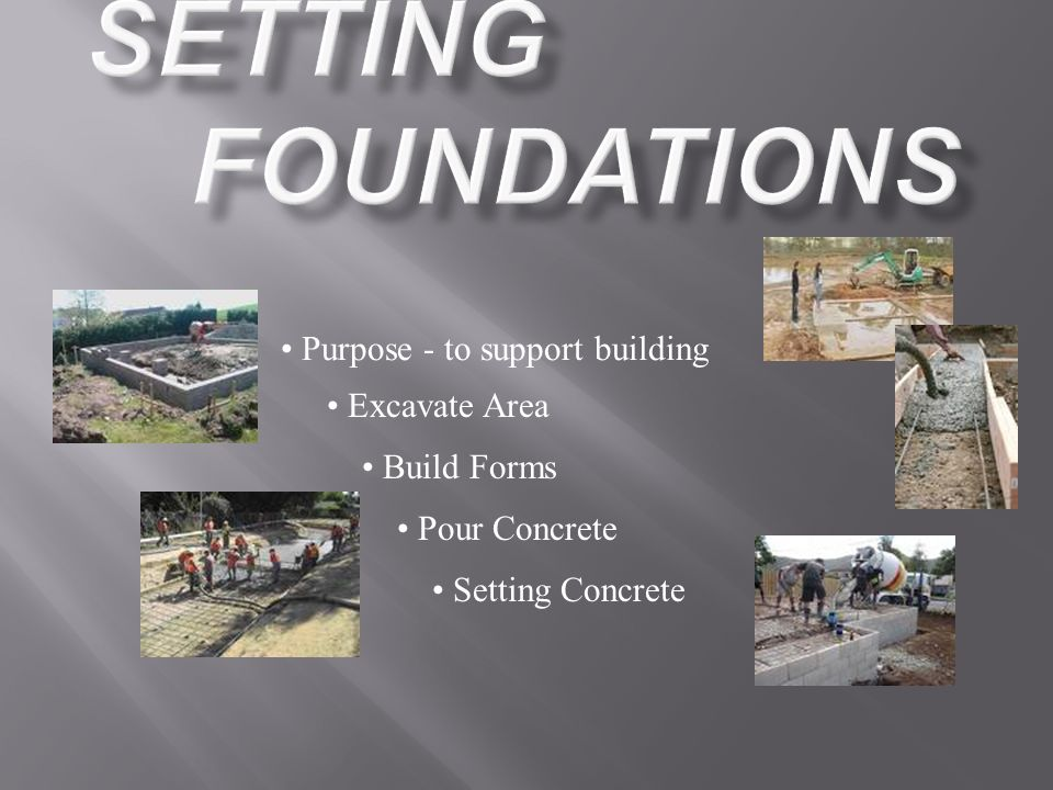 Purpose - to support building Excavate Area Build Forms Pour Concrete Setting Concrete