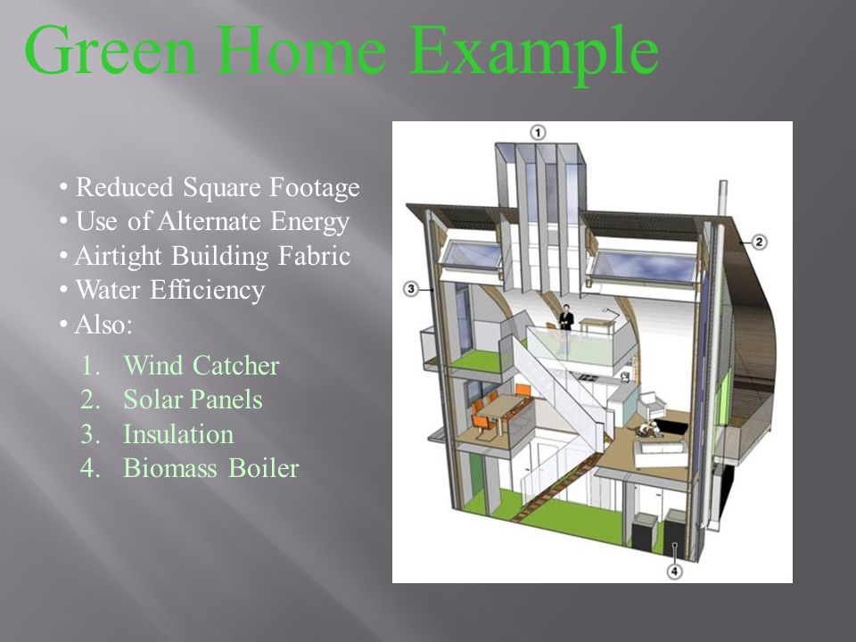 Green Home Example 1.Wind Catcher 2.Solar Panels 3.Insulation 4.Biomass Boiler Reduced Square Footage Use of Alternate Energy Airtight Building Fabric