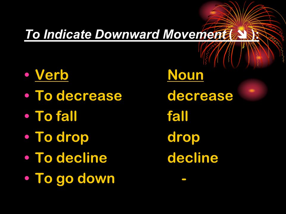 To Indicate Downward Movement ( ): VerbNoun To decreasedecrease To fall fall To dropdrop To declinedecline To go down -
