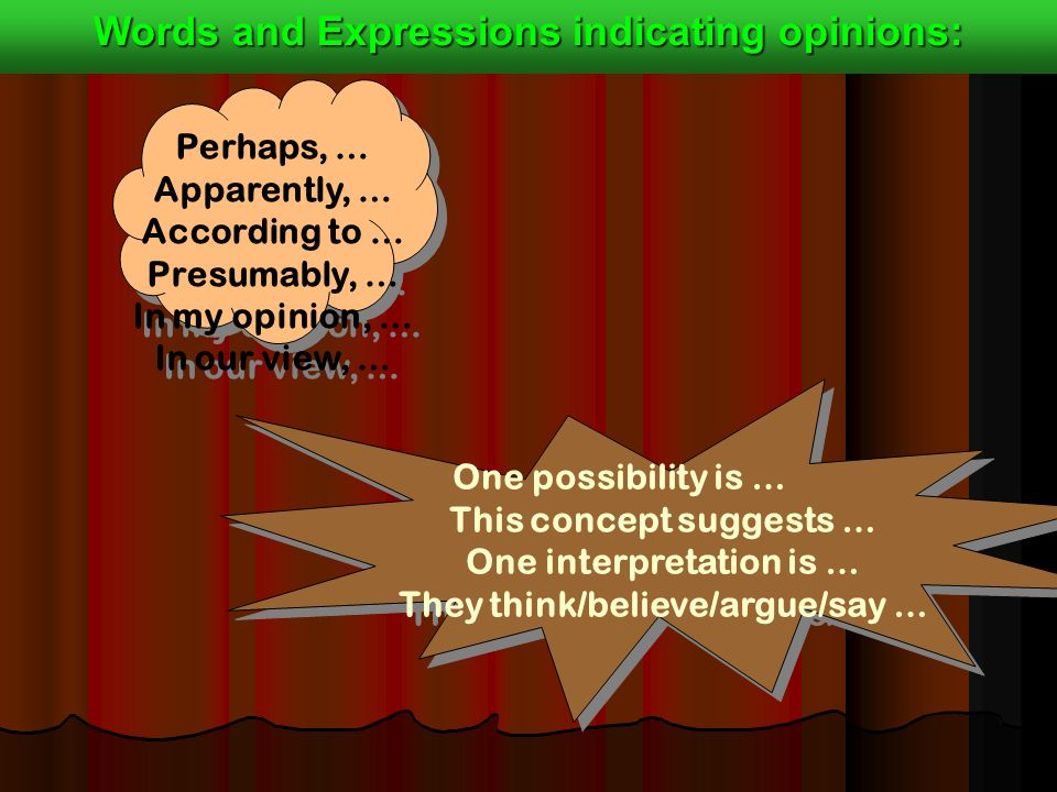 One possibility is … This concept suggests … One interpretation is … They think/believe/argue/say … One possibility is … This concept suggests … One interpretation is … They think/believe/argue/say … Perhaps, … Apparently, … According to … Presumably, … In my opinion, … In our view, … Perhaps, … Apparently, … According to … Presumably, … In my opinion, … In our view, … Words and Expressions indicating opinions:
