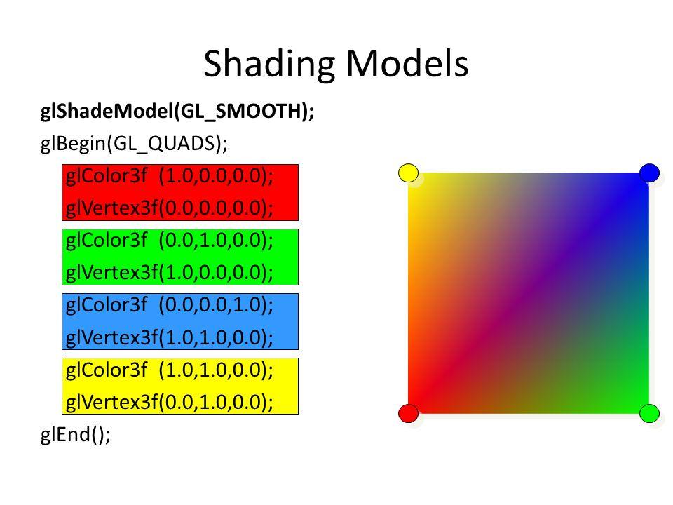 Shading Models glShadeModel(GL_SMOOTH); glBegin(GL_QUADS); glColor3f (1.0,0.0,0.0); glVertex3f(0.0,0.0,0.0); glColor3f (0.0,1.0,0.0); glVertex3f(1.0,0.0,0.0); glColor3f (0.0,0.0,1.0); glVertex3f(1.0,1.0,0.0); glColor3f (1.0,1.0,0.0); glVertex3f(0.0,1.0,0.0); glEnd();