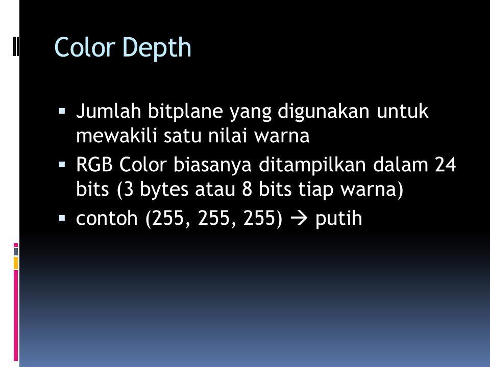 Color Depth Jumlah bitplane yang digunakan untuk mewakili satu nilai warna RGB Color biasanya ditampilkan dalam 24 bits (3 bytes atau 8 bits tiap warna) contoh (255, 255, 255) putih