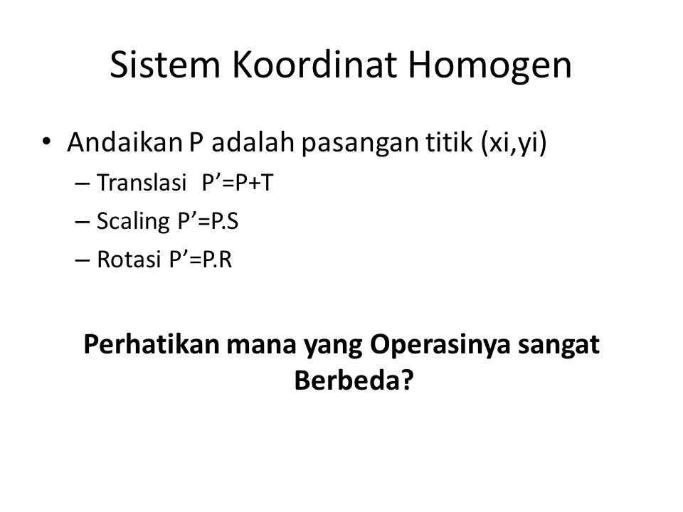 Sistem Koordinat Homogen Andaikan P adalah pasangan titik (xi,yi) – Translasi P=P+T – Scaling P=P.S – Rotasi P=P.R Perhatikan mana yang Operasinya san