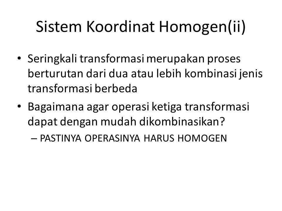 Sistem Koordinat Homogen(ii) Seringkali transformasi merupakan proses berturutan dari dua atau lebih kombinasi jenis transformasi berbeda Bagaimana ag