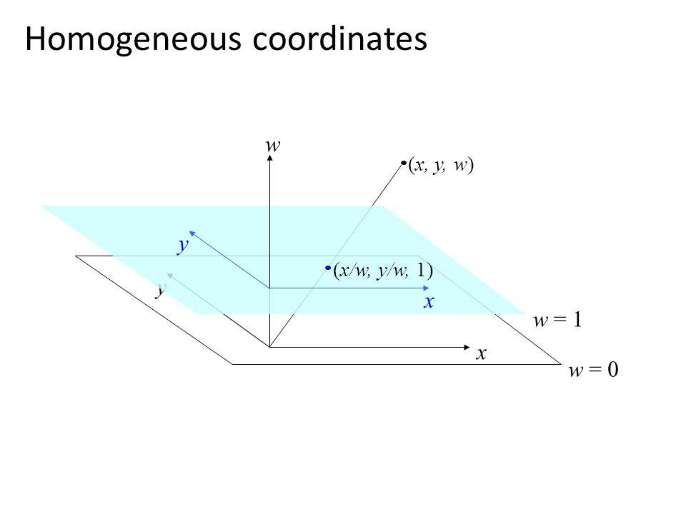 Homogeneous coordinates y w x w = 0 (x, y, w) w = 1 (x/w, y/w, 1) x y