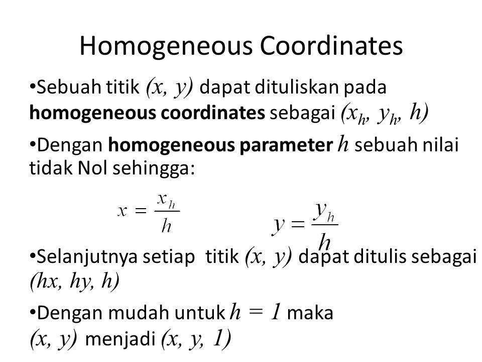 Homogeneous Coordinates Sebuah titik (x, y) dapat dituliskan pada homogeneous coordinates sebagai (x h, y h, h) Dengan homogeneous parameter h sebuah
