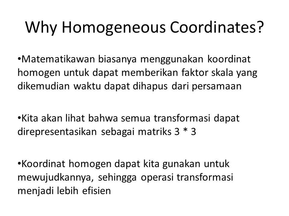 Why Homogeneous Coordinates? Matematikawan biasanya menggunakan koordinat homogen untuk dapat memberikan faktor skala yang dikemudian waktu dapat diha