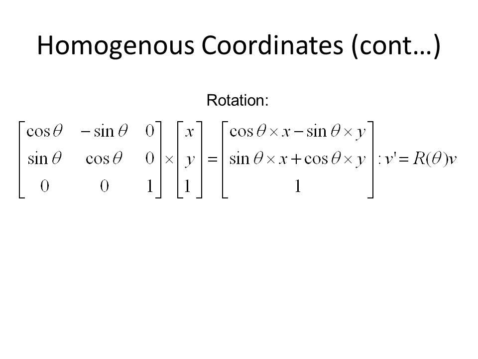 Homogenous Coordinates (cont…) Rotation: