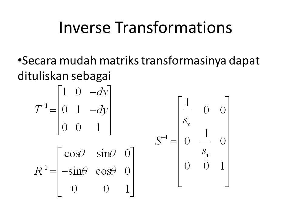 Inverse Transformations Secara mudah matriks transformasinya dapat dituliskan sebagai