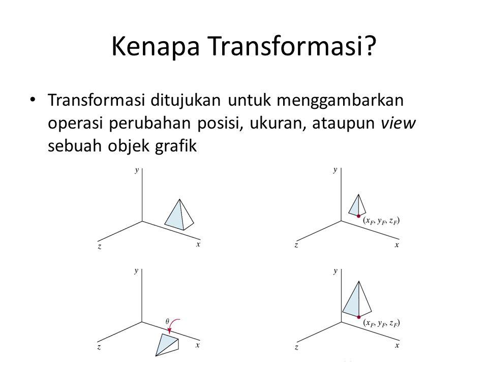 Kenapa Transformasi? Transformasi ditujukan untuk menggambarkan operasi perubahan posisi, ukuran, ataupun view sebuah objek grafik