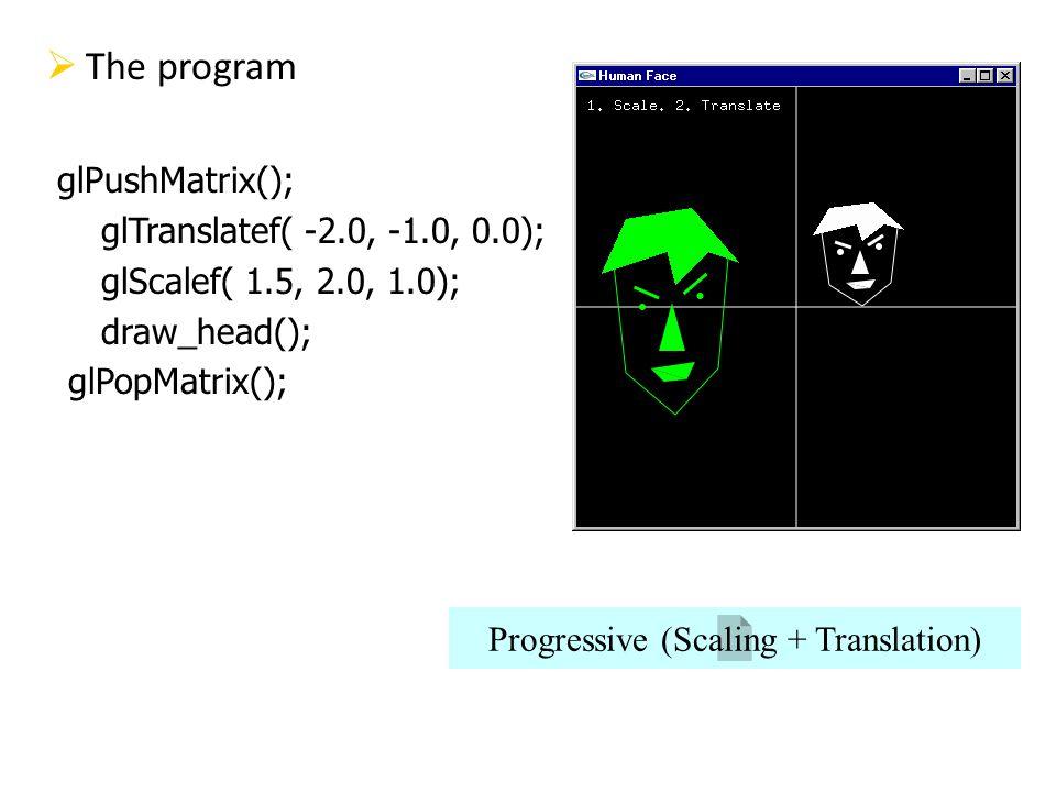 The program glPushMatrix(); glTranslatef( -2.0, -1.0, 0.0); glScalef( 1.5, 2.0, 1.0); draw_head(); glPopMatrix(); Progressive (Scaling + Translation)