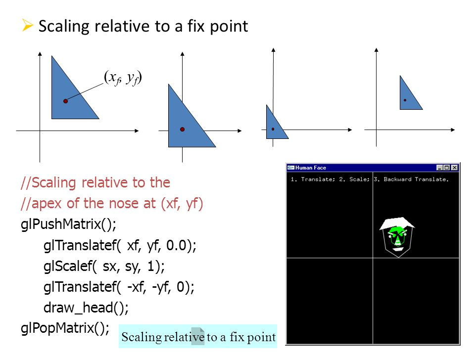 Scaling relative to a fix point //Scaling relative to the //apex of the nose at (xf, yf) glPushMatrix(); glTranslatef( xf, yf, 0.0); glScalef( sx, sy,