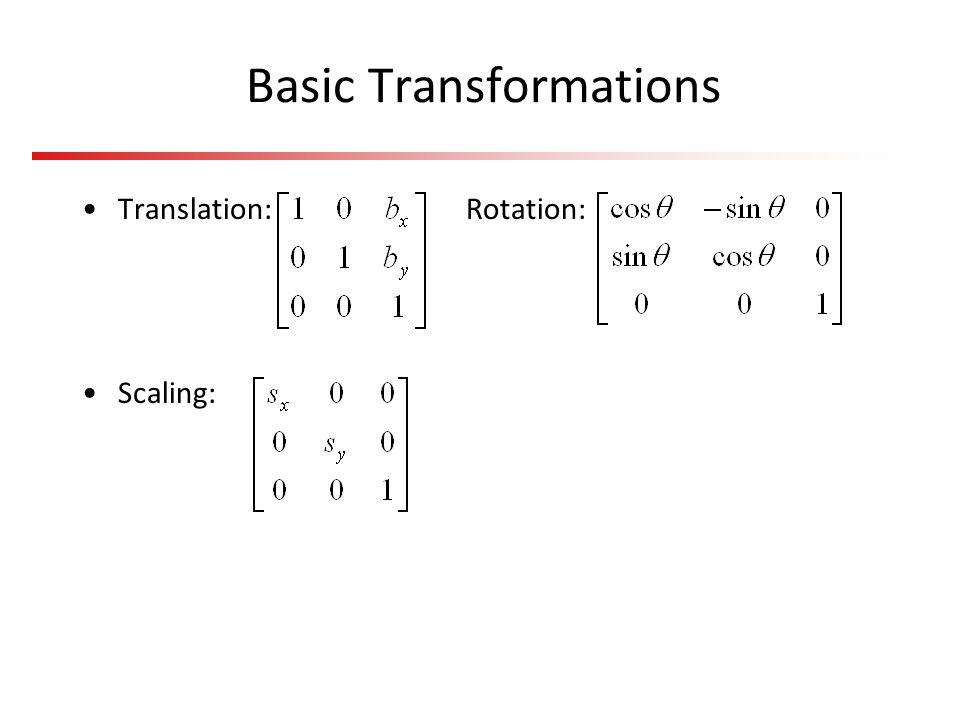 Basic Transformations Translation: Rotation: Scaling: