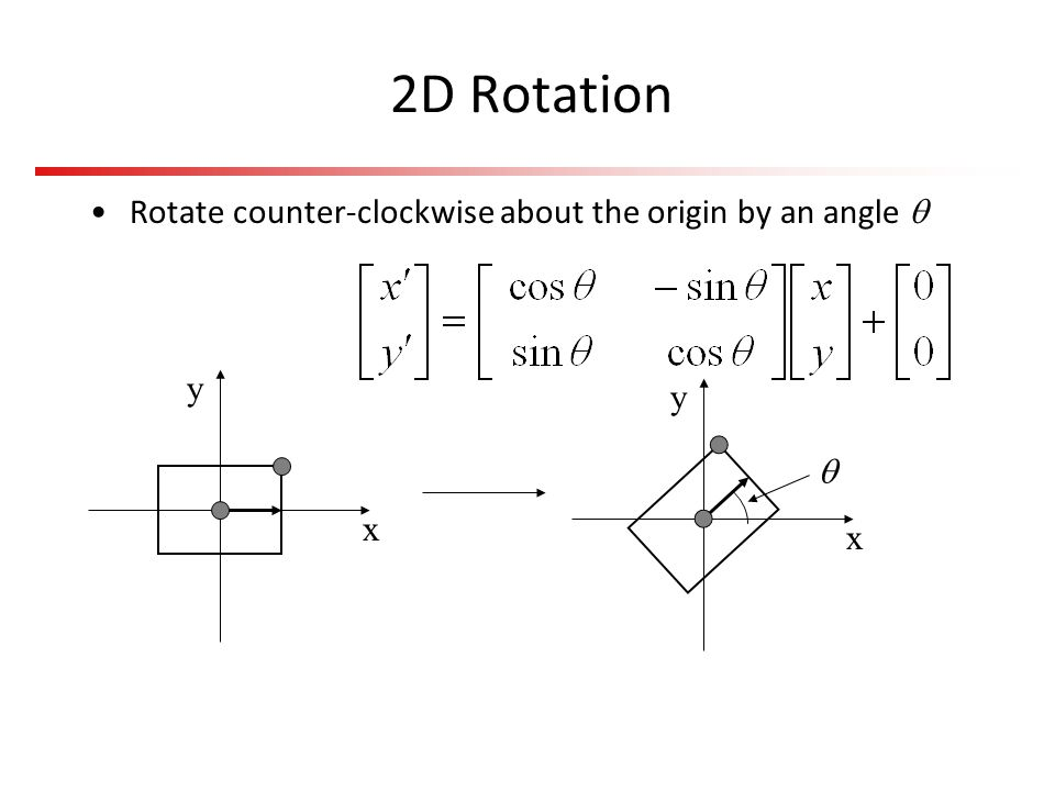 Other Rotation Issues Rotation is about an axis at the origin –For rotation about an arbitrary axis, use the same trick as in 2D: Translate the axis to the origin, rotate, and translate back again Rotation is not commutative –Rotation order matters –Experiment to convince yourself of this