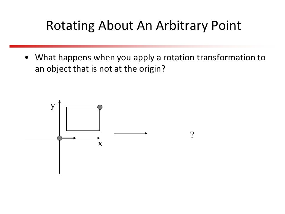 Rotating About An Arbitrary Point What happens when you apply a rotation transformation to an object that is not at the origin.