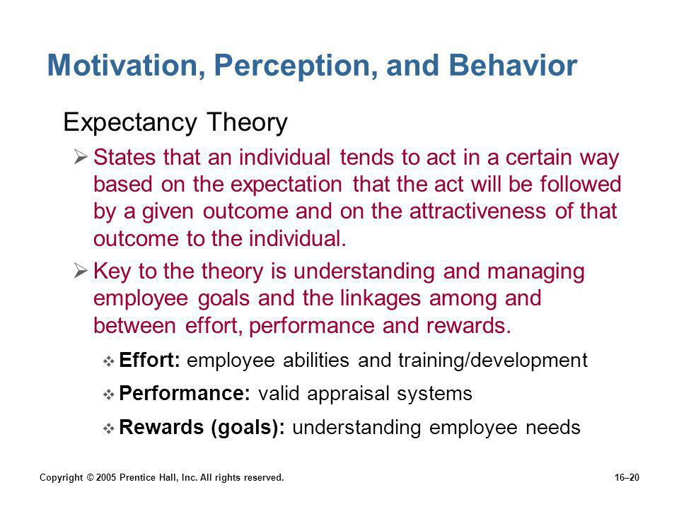 Copyright © 2005 Prentice Hall, Inc. All rights reserved.16–20 Motivation, Perception, and Behavior Expectancy Theory States that an individual tends