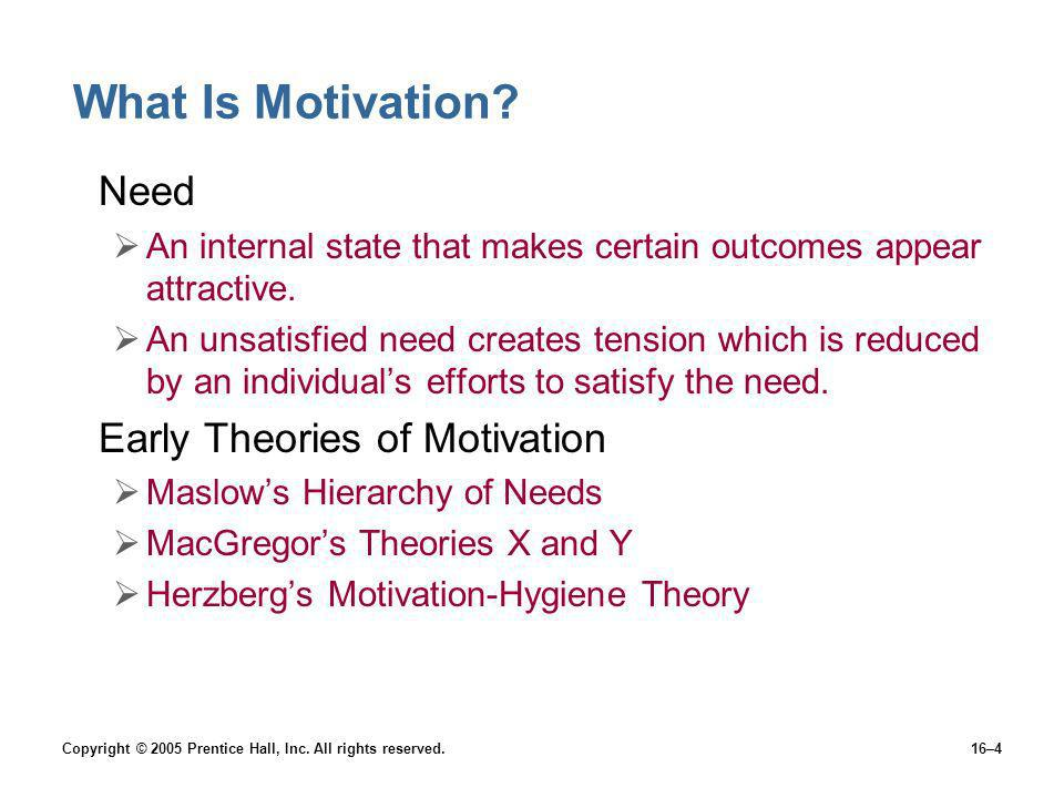 Copyright © 2005 Prentice Hall, Inc. All rights reserved.16–4 What Is Motivation? Need An internal state that makes certain outcomes appear attractive