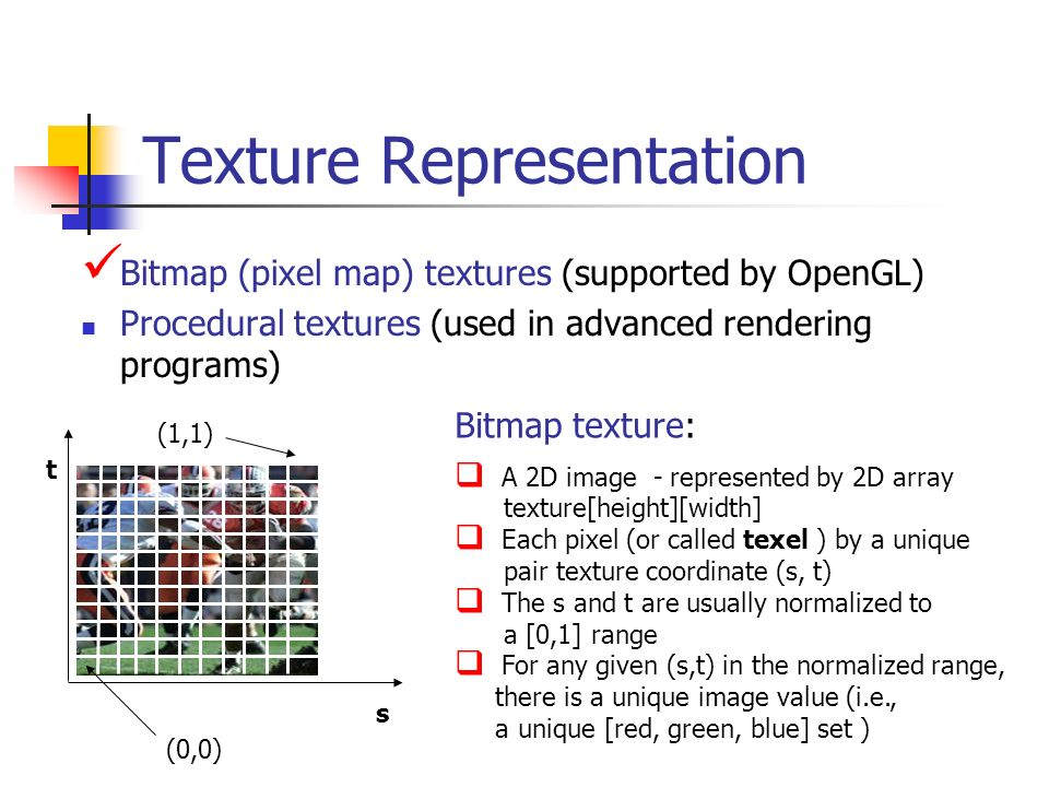 Texture Representation Bitmap (pixel map) textures (supported by OpenGL) Procedural textures (used in advanced rendering programs) Bitmap texture: A 2
