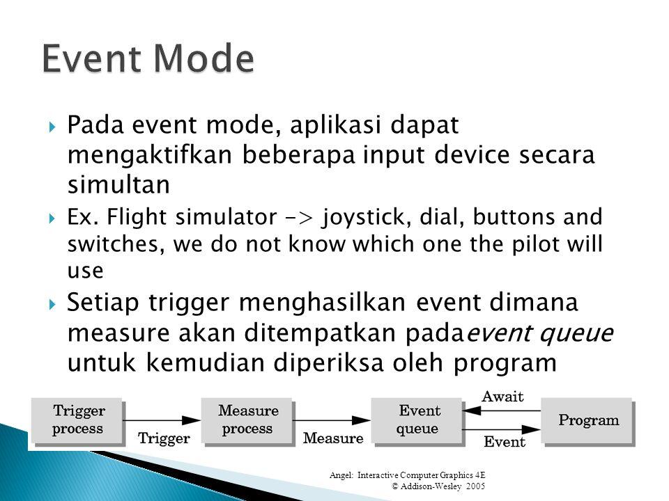 Pada event mode, aplikasi dapat mengaktifkan beberapa input device secara simultan Ex.