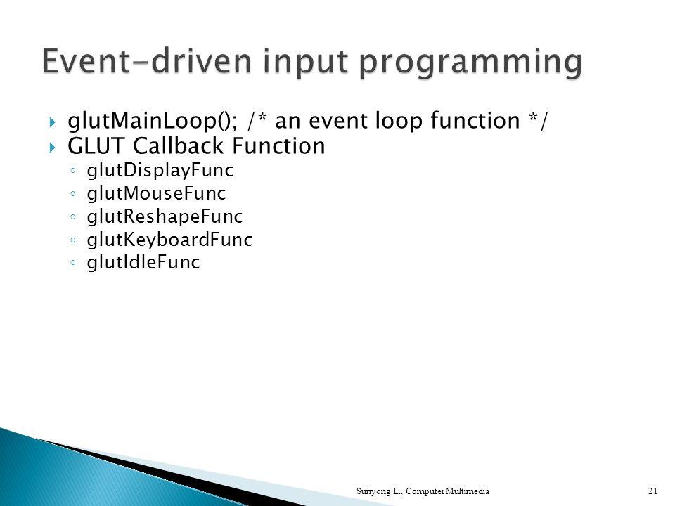 Suriyong L., Computer Multimedia21 glutMainLoop(); /* an event loop function */ GLUT Callback Function glutDisplayFunc glutMouseFunc glutReshapeFunc glutKeyboardFunc glutIdleFunc