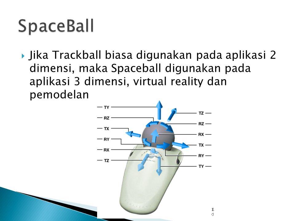Jika Trackball biasa digunakan pada aplikasi 2 dimensi, maka Spaceball digunakan pada aplikasi 3 dimensi, virtual reality dan pemodelan Angel: Interactive Computer Graphics 4E © Addison-Wesley 2005 04.804.8