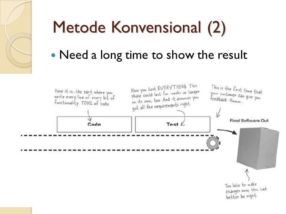 Metode Konvensional (2) Metode Konvensional (2) Need a long time to show the result