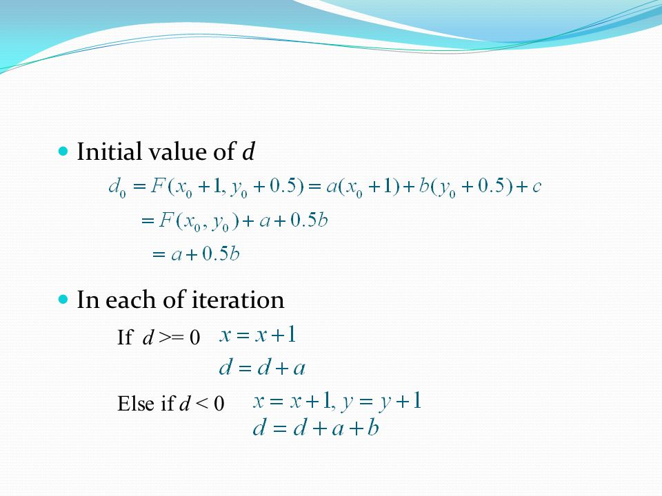Initial value of d In each of iteration Else if d < 0 If d >= 0