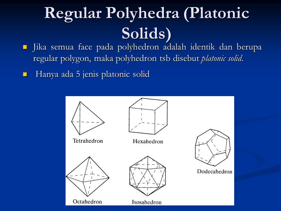 13 Regular Polyhedra (Platonic Solids) Jika semua face pada polyhedron adalah identik dan berupa regular polygon, maka polyhedron tsb disebut platonic