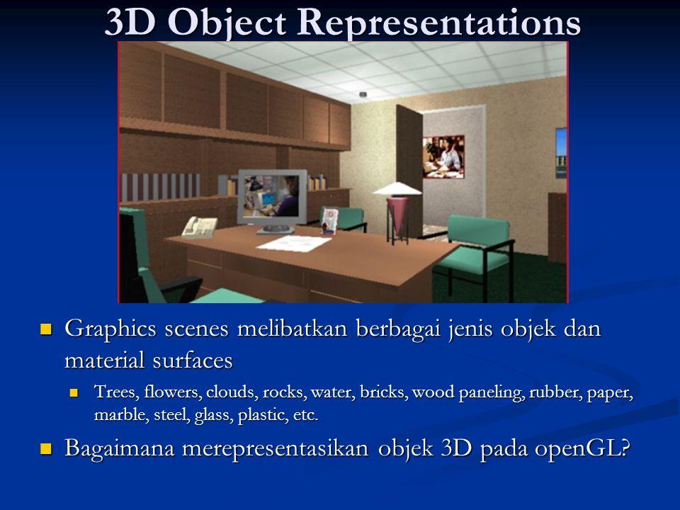 3D Object Representations Graphics scenes melibatkan berbagai jenis objek dan material surfaces Graphics scenes melibatkan berbagai jenis objek dan ma