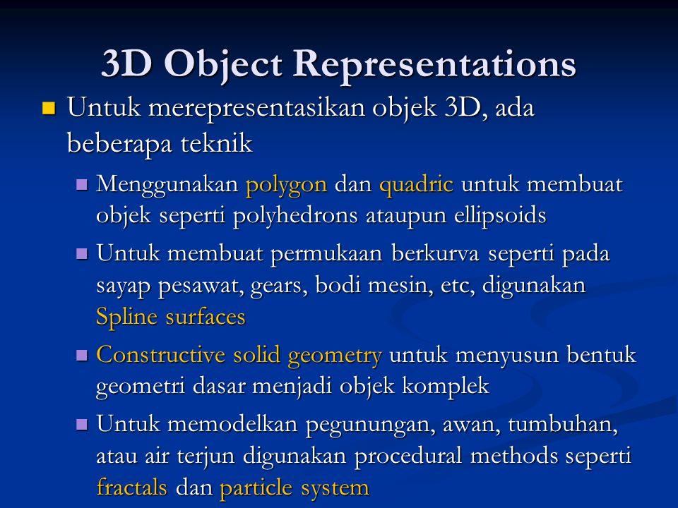 3D Object Representations Untuk merepresentasikan objek 3D, ada beberapa teknik Untuk merepresentasikan objek 3D, ada beberapa teknik Menggunakan poly