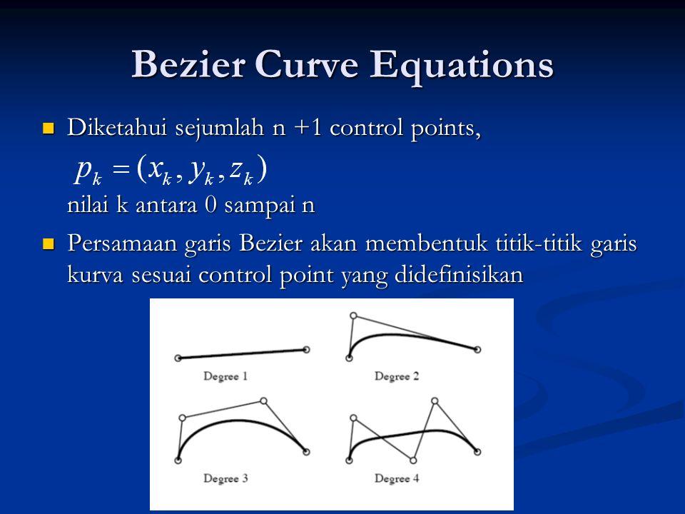 Bezier Curve Equations Diketahui sejumlah n +1 control points, Diketahui sejumlah n +1 control points, nilai k antara 0 sampai n Persamaan garis Bezie
