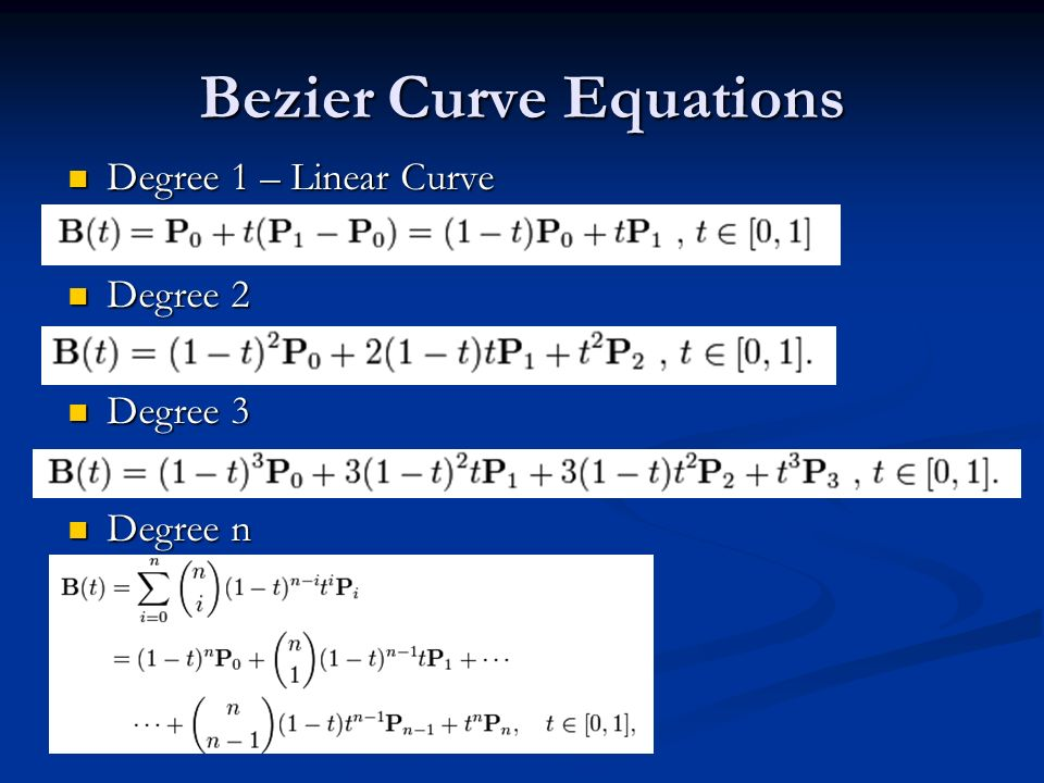 Bezier Curve Equations Degree 1 – Linear Curve Degree 1 – Linear Curve Degree 2 Degree 2 Degree 3 Degree 3 Degree n Degree n