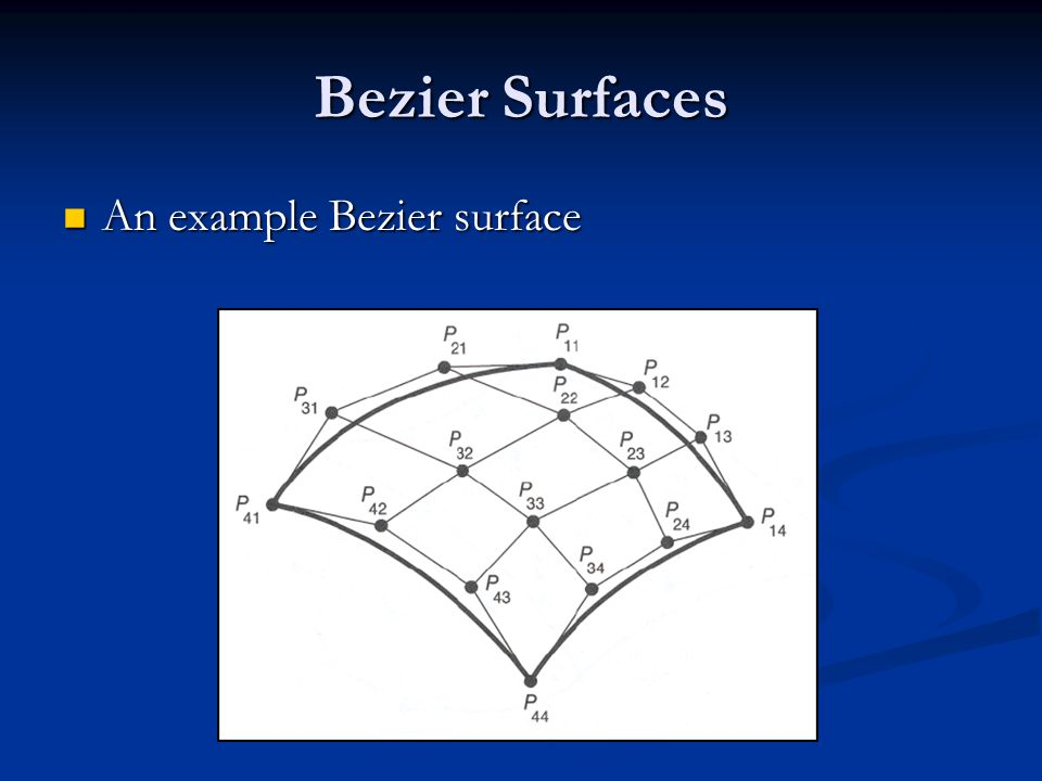 Bezier Surfaces An example Bezier surface An example Bezier surface