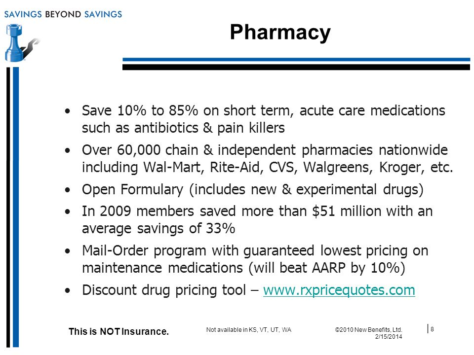 Pharmacy | 8 ©2010 New Benefits, Ltd. 2/15/2014 This is NOT Insurance.