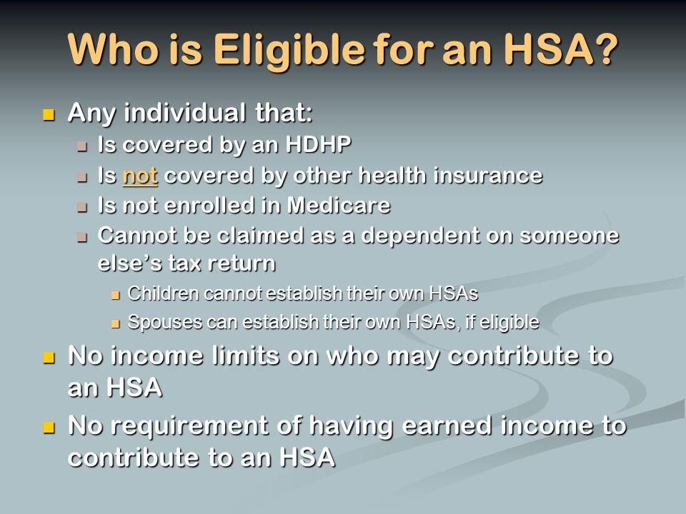 Who is Eligible for an HSA.