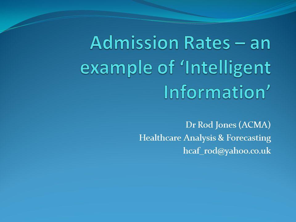 Dr Rod Jones (ACMA) Healthcare Analysis & Forecasting hcaf_rod@yahoo.co.uk