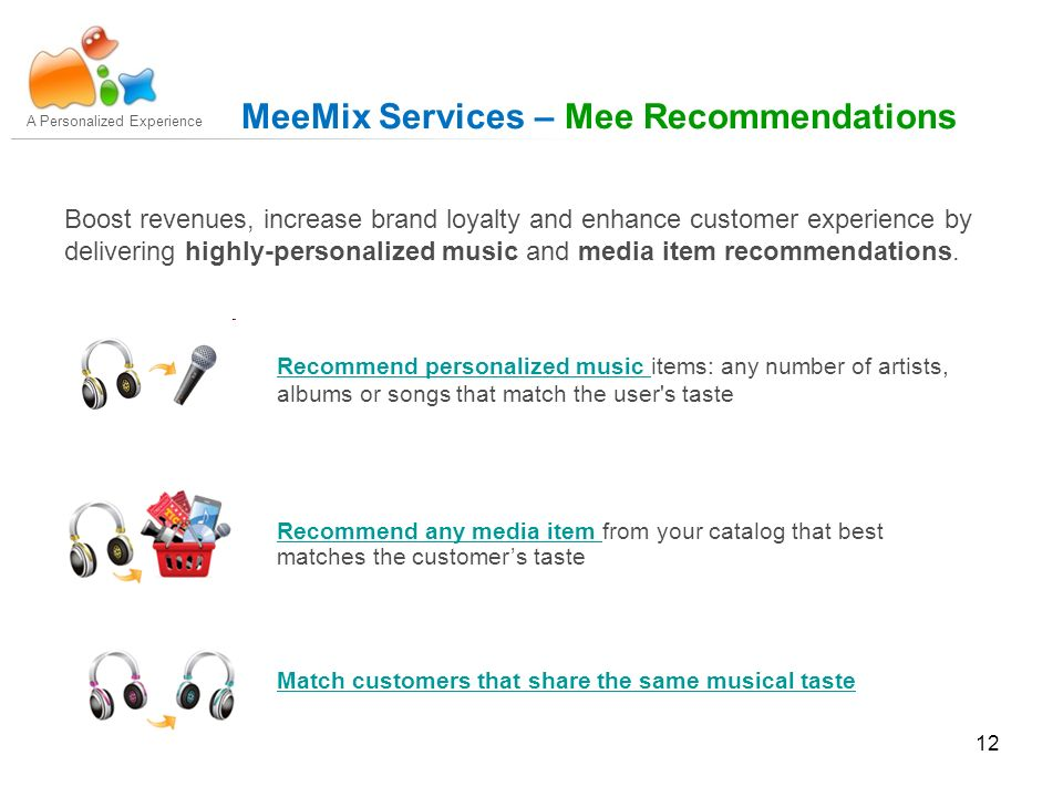 12 Boost revenues, increase brand loyalty and enhance customer experience by delivering highly-personalized music and media item recommendations.