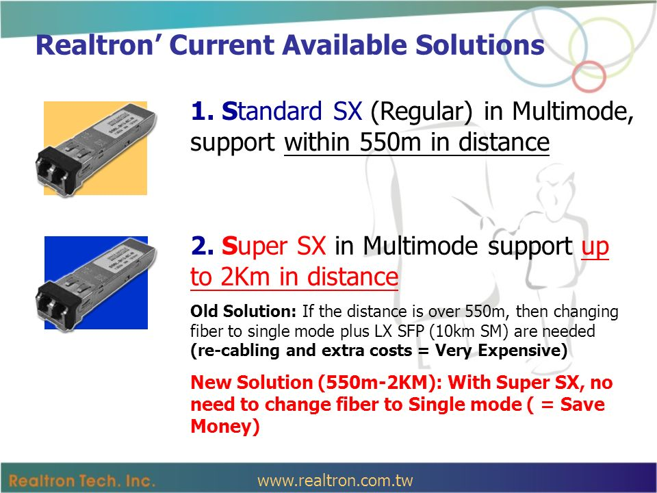 Benefits for Customers Customers currently using 100Fx multimode fiber need to upgrade to Gigabit level without more budget.