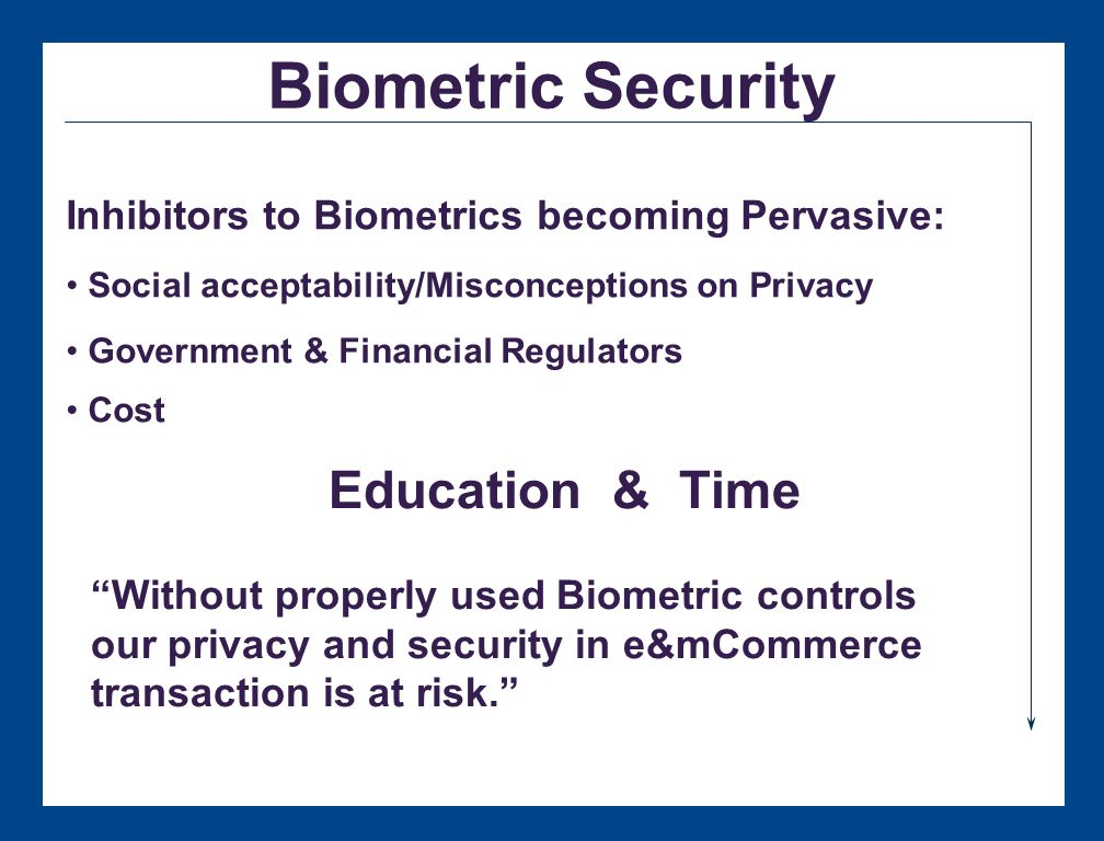 Biometric Identifiers Biometrics: Proof by Person Sample Chart from Biometric Market Report 2000 Total 1999 revenue of non-AFIS biometric disciplines: $58.4 million Estimated annual revenues of non-AFIS biometric disciplines by 2003: $594 million