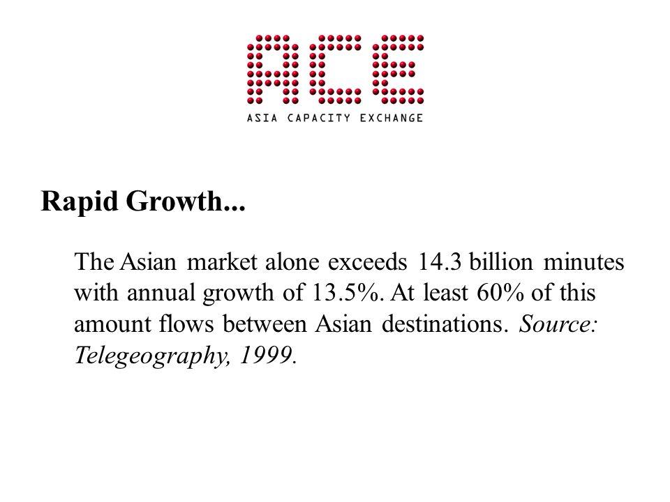 Rapid Growth... The Asian market alone exceeds 14.3 billion minutes with annual growth of 13.5%. At least 60% of this amount flows between Asian desti