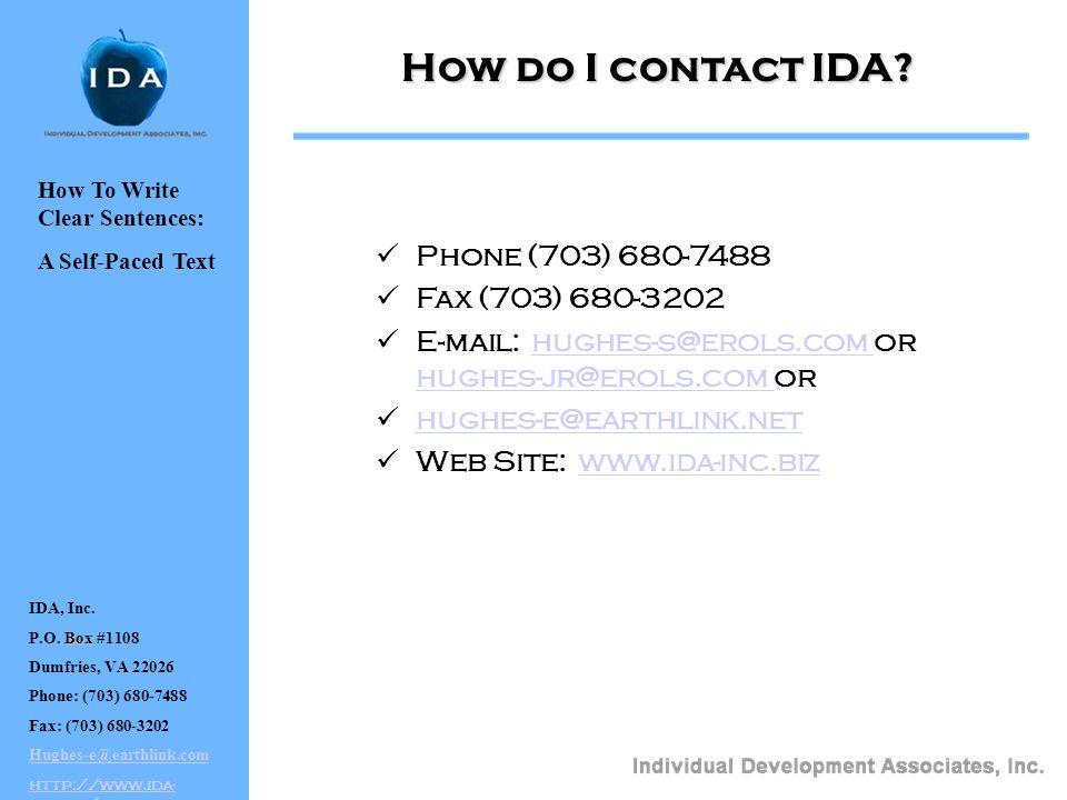 IDA, Inc. Box P.O.
