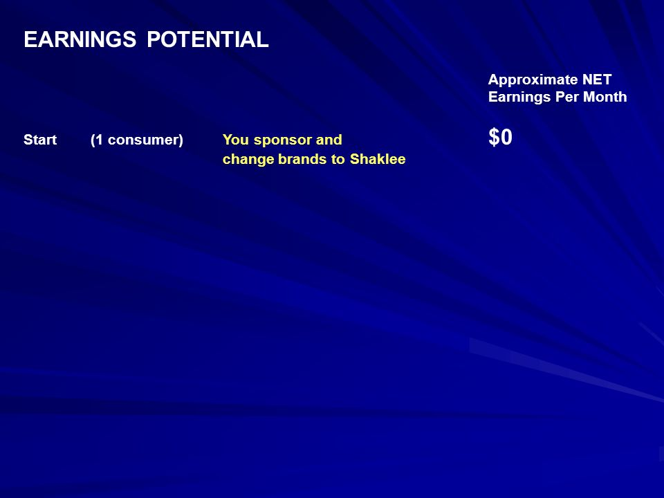EARNINGS POTENTIAL Approximate NET Earnings Per Month Start (1 consumer)You sponsor and $0 change brands to Shaklee