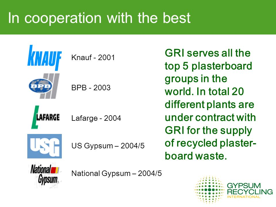 In cooperation with the best Knauf BPB Lafarge US Gypsum – 2004/5 National Gypsum – 2004/5 GRI serves all the top 5 plasterboard groups in the world.