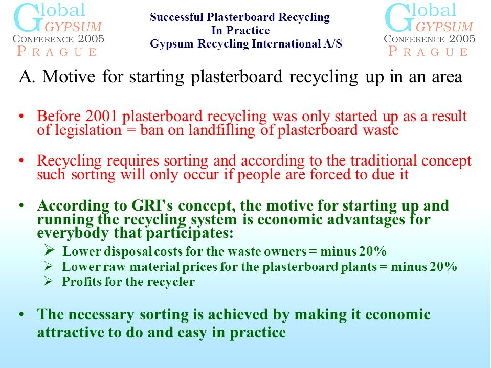 A. Motive for starting plasterboard recycling up in an area Before 2001 plasterboard recycling was only started up as a result of legislation = ban on
