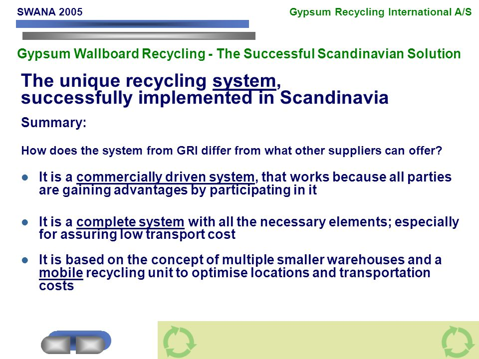 The unique recycling system, successfully implemented in Scandinavia Summary: How does the system from GRI differ from what other suppliers can offer.