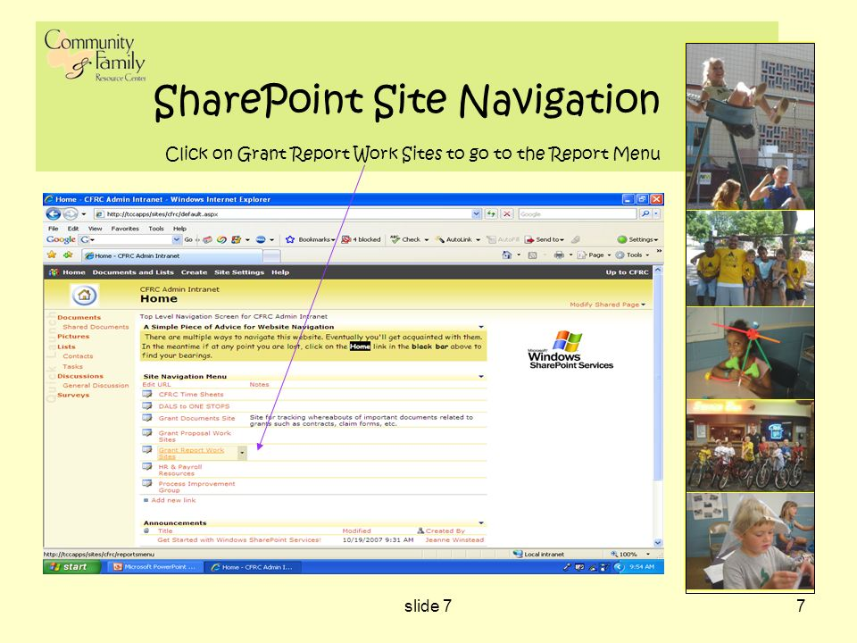 slide 77 SharePoint Site Navigation Click on Grant Report Work Sites to go to the Report Menu